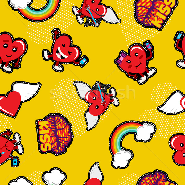 Valentines day love emoji patch seamless pattern Stock photo © cienpies