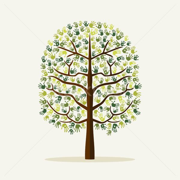 Foto stock: Verde · mão · imprimir · árvore · ambiente · ilustração