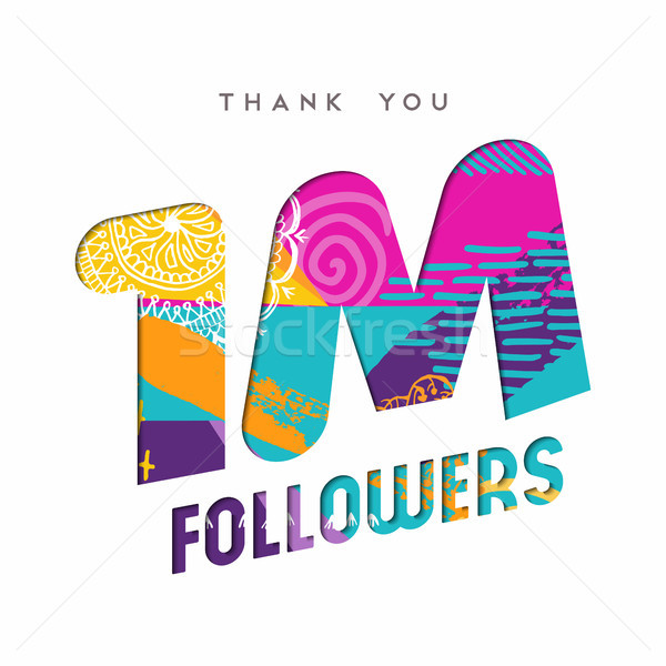 1 million internet follower number thank you card Stock photo © cienpies