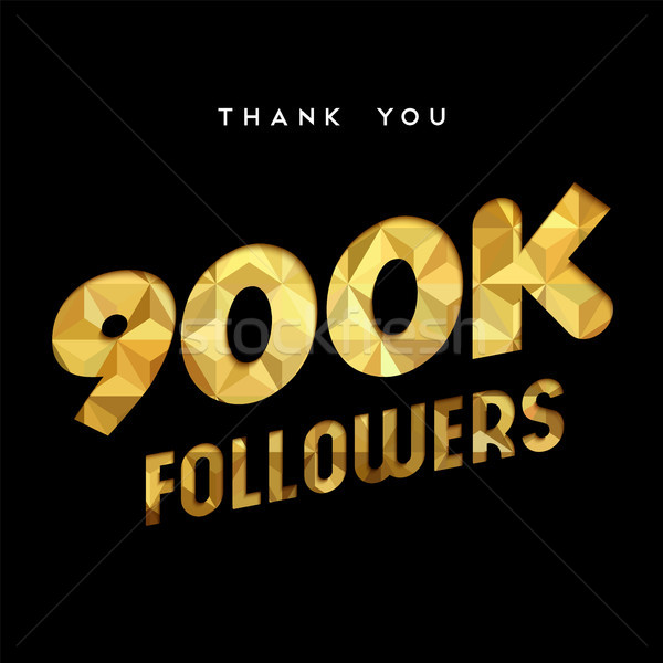 900k gold internet follower number thank you card Stock photo © cienpies