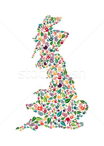 Anglia kéz nyomtatott társasági környezet segítség Stock fotó © cienpies