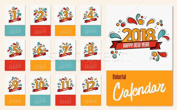 New year 2018 colorful calendar template set Stock photo © cienpies