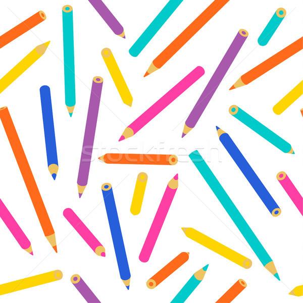 Színesceruza végtelen minta iskolások gyerekek dekoráció vibráló Stock fotó © cienpies