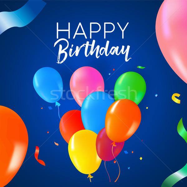 Feliz aniversário festa balão confete cartão cartão Foto stock © cienpies