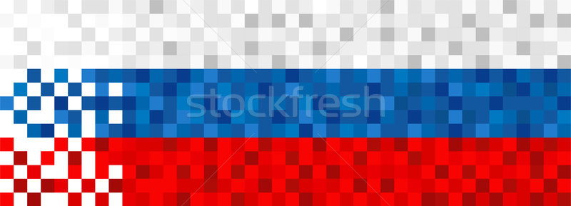 Russia web banner of russian pixel art flag  Stock photo © cienpies