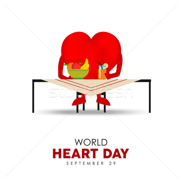 World Heart Day card for nutrition and health care Stock photo © cienpies