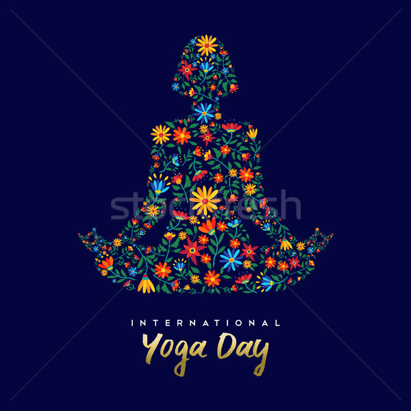 Stock photo: Yoga day card of woman in relaxation lotus pose