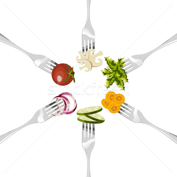 Forks with vegetables circle.  Stock photo © cienpies