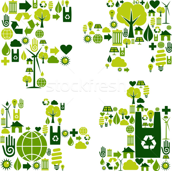 Foto stock: Rompecabezas · pieza · ambiental · iconos · silueta · colección