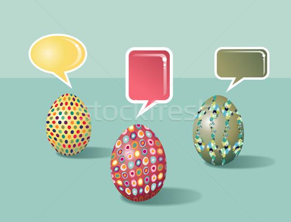 Foto stock: Falante · ovos · de · páscoa · ovos · conjunto · decorado
