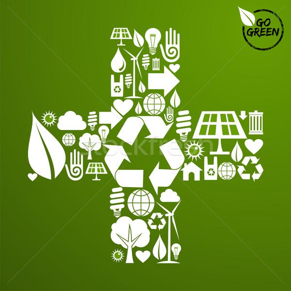 Und Form grünen Symbole Pluszeichen Stock foto © cienpies