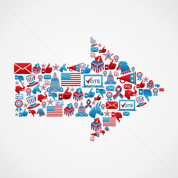 Stock photo: US elections icons in arrow shape