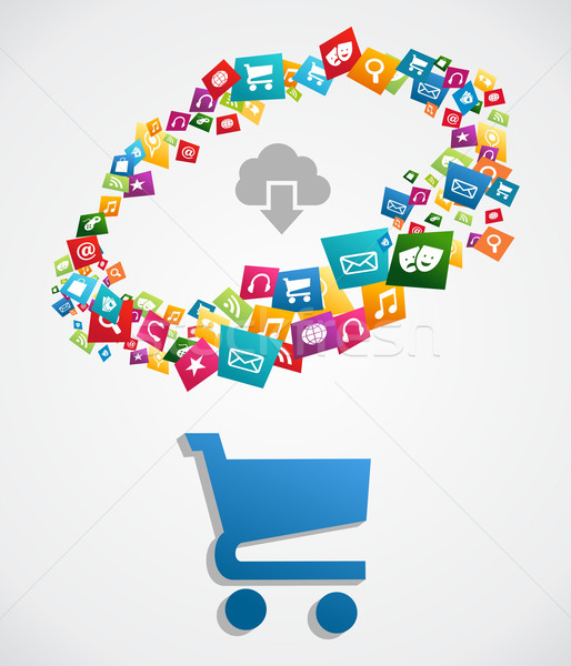 Cloud computing applications Stock photo © cienpies