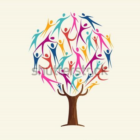 Diversity human colors tree set Stock photo © cienpies