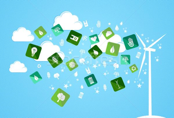 Photo stock: Nuage · Splash · respectueux · de · l'environnement · icônes · vert · turbine