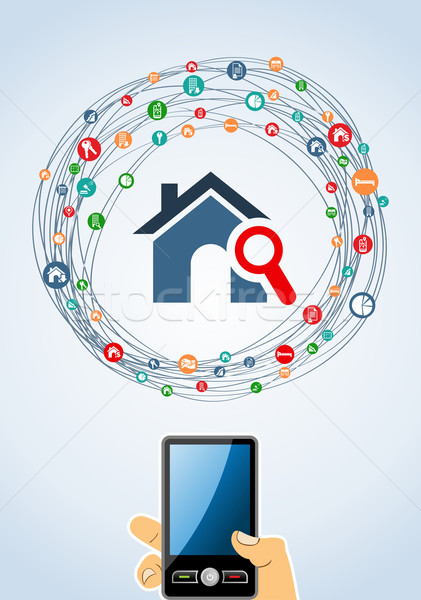 Real estate icon set mobile Stock photo © cienpies
