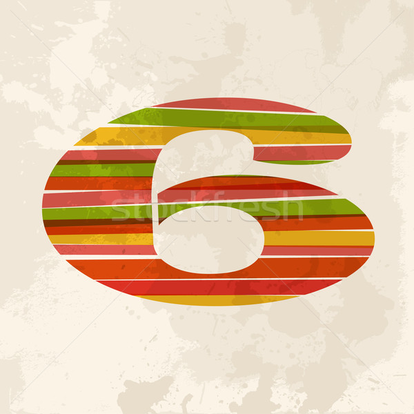 Vintage multicolor number 6 Stock photo © cienpies