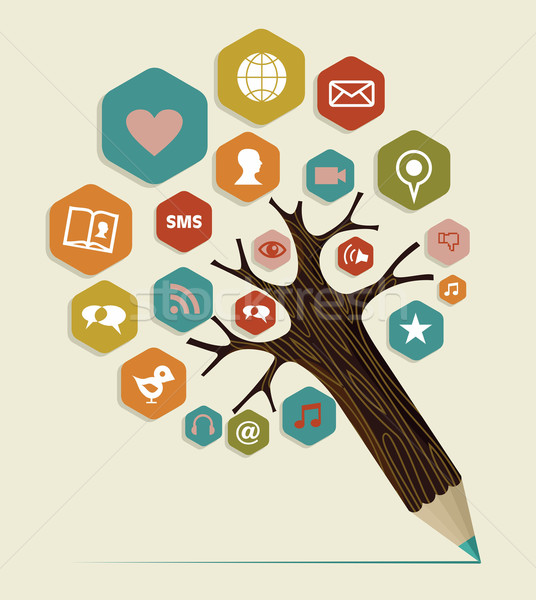 Social media flat icon concept tree Stock photo © cienpies