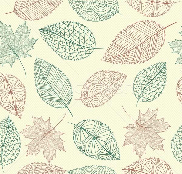 Stock fotó: Klasszikus · rajz · ősz · levelek · végtelen · minta · eps10
