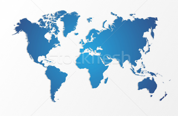 Blue World map isolated shape EPS10 vector file. Stock photo © cienpies