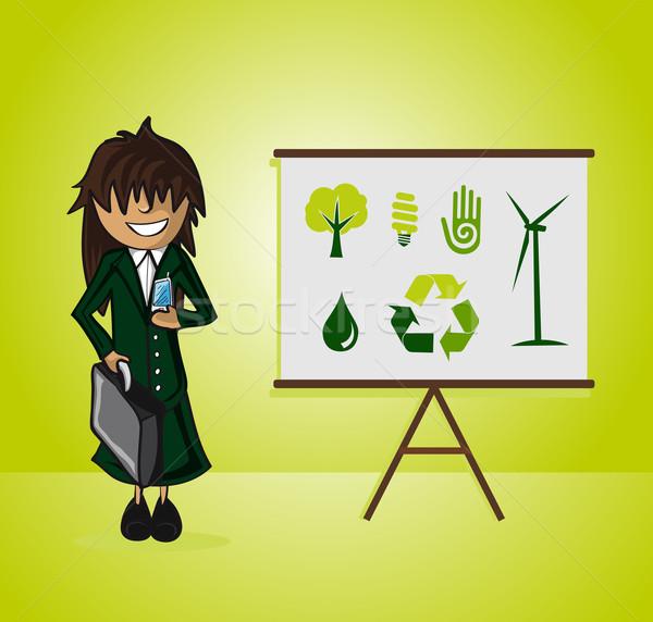 Ecology bussines woman presentation Stock photo © cienpies