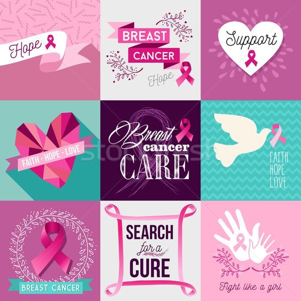 Breast cancer awareness campaign flat design set Stock photo © cienpies