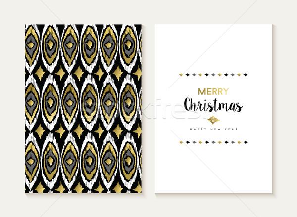 Vidám karácsony retro törzsi arany minta Stock fotó © cienpies