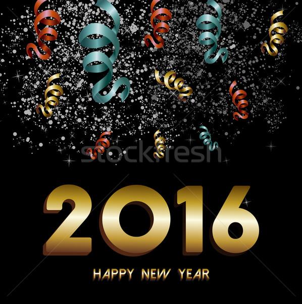 Nouvelle année 2016 confettis or carte Photo stock © cienpies