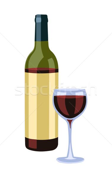ボトル ワイングラス 白 ドリンク ストックフォト © cienpies