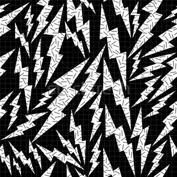 Bout retro zwart wit pop art donder Stockfoto © cienpies