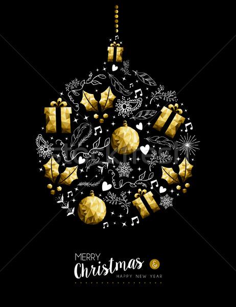 Gold Weihnachten Neujahr Spielerei Dekoration heiter Stock foto © cienpies