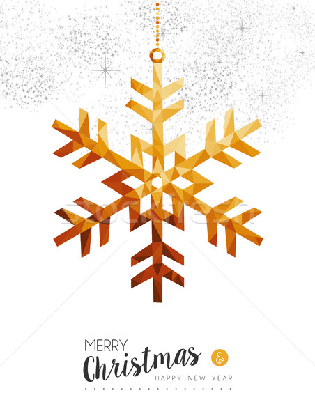 Gold Christmas and new year snow in low poly art Stock photo © cienpies