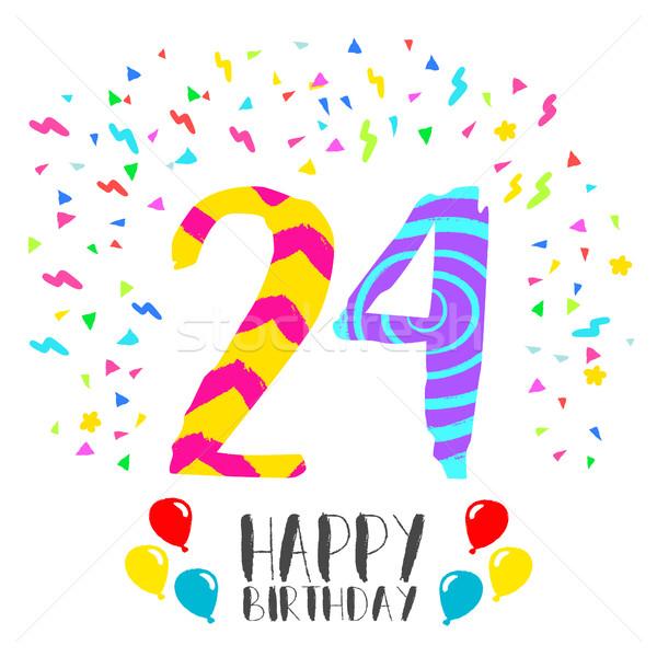 Mutlu yıllar 24 yıl kart numara Stok fotoğraf © cienpies