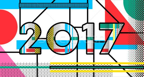 2017 New Year pop art typography retro design Stock photo © cienpies