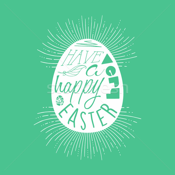 Happy Easter egg typography quote design  Stock photo © cienpies