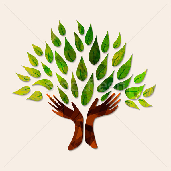 Hand tree green nature people help illustration Stock photo © cienpies
