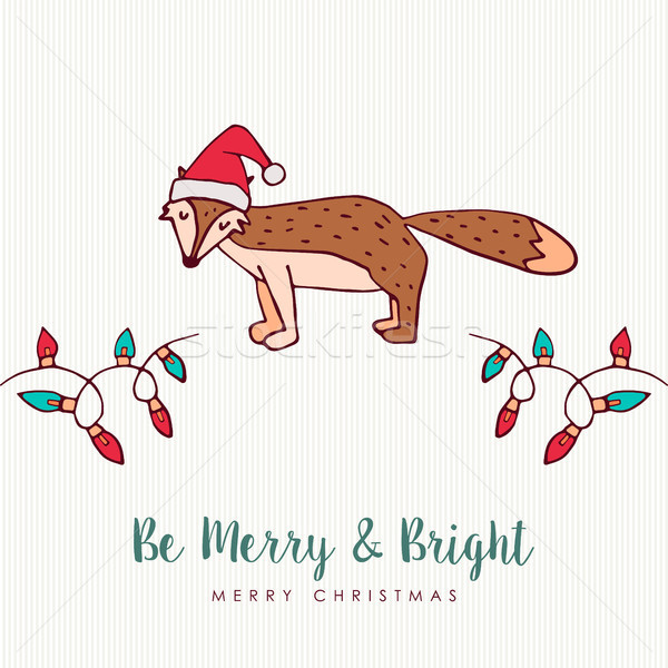 Рождества Hat Fox Cartoon Сток-фото © cienpies