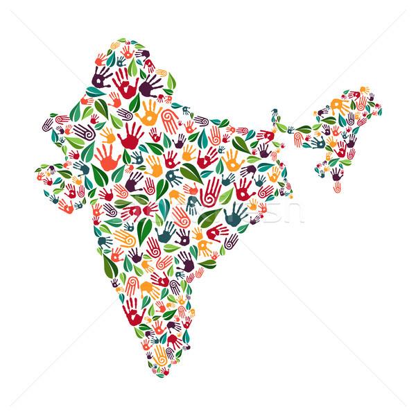 Índia mão imprimir social ambiente ajudar Foto stock © cienpies