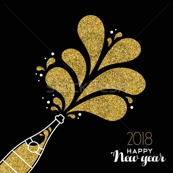 New Year 2018 gold glitter champagne party bottle Stock photo © cienpies