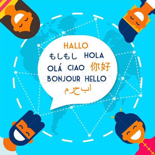 Friends on translation app online for social media Stock photo © cienpies
