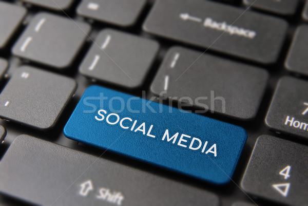 Stock fotó: Közösségi · média · gomb · számítógép · billentyűzet · billentyűzet · közösség · háló