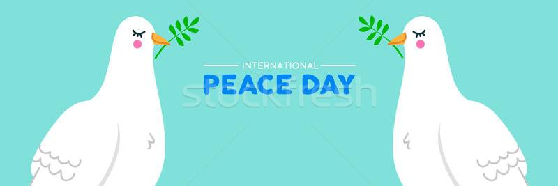 Internationaux paix sociale bannière blanche colombe Photo stock © cienpies