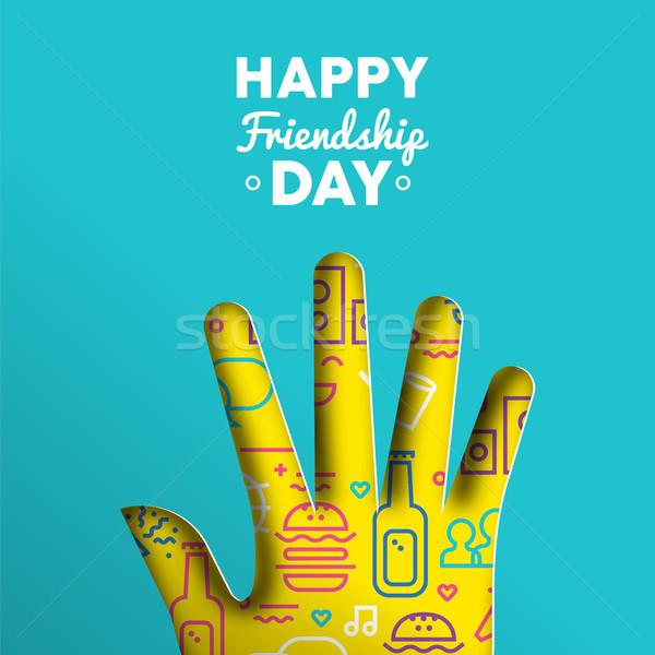 Amizade dia cartão papel cortar mão Foto stock © cienpies