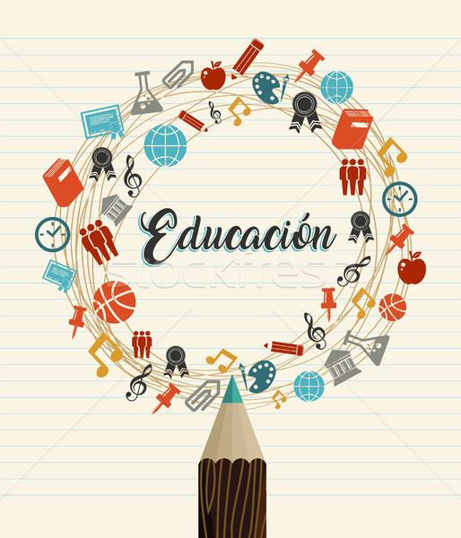 Istruzione scuola citare spagnolo lingua Foto d'archivio © cienpies