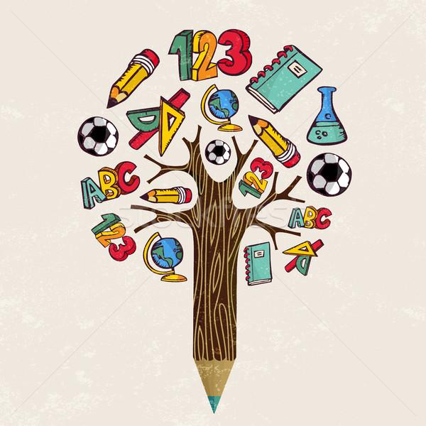 Photo stock: éducation · crayon · arbre · école · apprentissage · classe