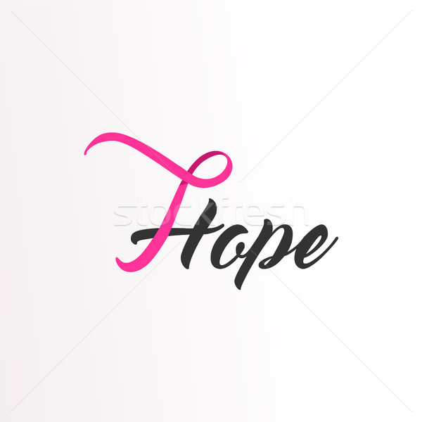 Hope Pink ribbon text for Breast Cancer Awareness Stock photo © cienpies