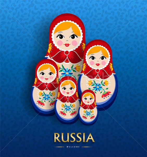 Rus bebek poster Rusya seyahat turizm Stok fotoğraf © cienpies