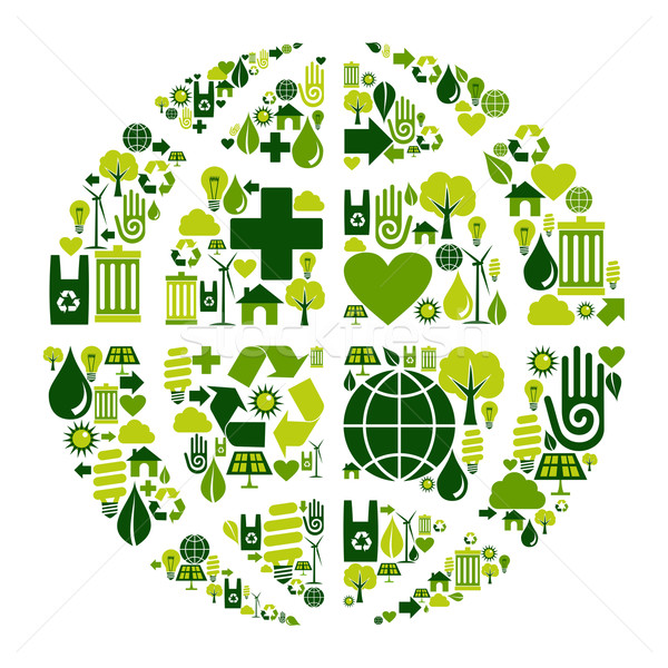 Earth Globe symbol with environmental icons Stock photo © cienpies