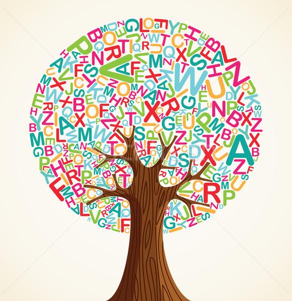 школы образование дерево письма вектора файла Сток-фото © cienpies