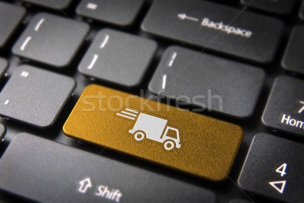 Yellow delivery keyboard key cargo business background Stock photo © cienpies